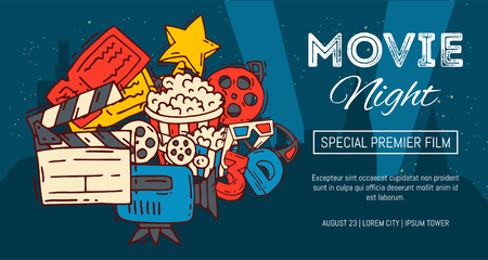 Cinema festival poster flyer media production background vector. Sale ticket banner. Movie time and entertainment concept. Camera cinematography advertising flat illustration. Illustration