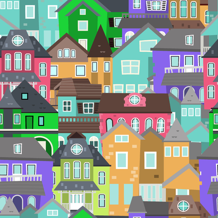 Cute houses seamless pattern with color home background vector illustration. Down town wrapping backdrop roof print. City street architecture. Modern real estate exterior wallpaper. Stockfoto - 118811665