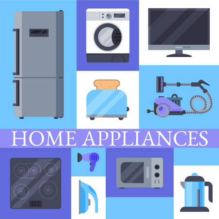 Home appliances poster flat illustration vector. Modern technology house machine equipment. Domestic appliance automation device.