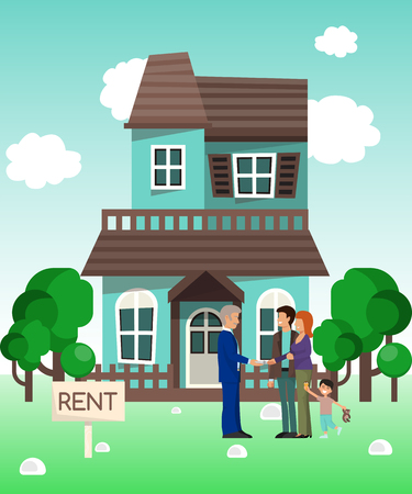 House rent banner, home selection, building buying in hands, real estate concept vector illustration. Housing purchase realty choose commercial investment apartment. Property cottage buy flyer. 일러스트