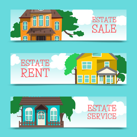 House rent banner, home selection, building project, real estate concept, flat style vector illustration. Housing purchase realty choose commercial investment apartment. Property cottage buy flyer.