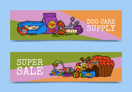 Pet care supply funny colorful banner petsshop advertising bookmark with dog kennel vector illustration. Animal accessory clinic canine carrier poster. Puppy protection tools.
