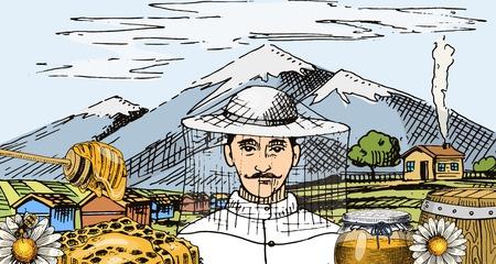 Folleto de abeja y colmena de cera de miel. Cartel orgánico miel y colmenar, colmena y manzanilla postre nutrición comida vector ilustración. Banner con montañas y hombre apicultor dibujado a mano.