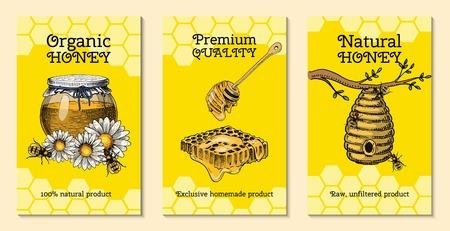 Cartes de ferme de miel épilation des abeilles et flyer de la ruche. Affiche bio miel et rucher, ruche et camomille dessert nutrition illustration vectorielle. Bannière avec des images dessinées à la main industrie alimentaire apicole.