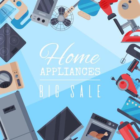 Vecteur d'illustration plat d'affiche de vente d'appareils ménagers. Équipement de machine de maison de technologie moderne. Dispositif d'automatisation d'appareils électroménagers. Bannière d'éléments ménagers d'appartement créatif.