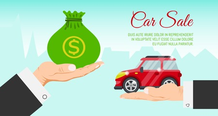 Buying or renting new or used red car banner vector illustration. Car in buyer hand. Car sale. Modern flat style selling transport flyer. Buying auto rental dealer hand. Travel vehicle service concept.