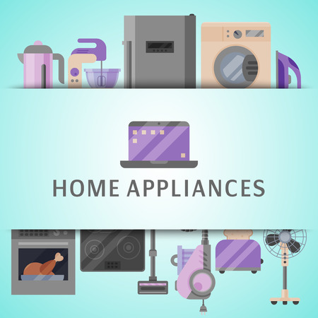 Home appliances poster flat illustration vector. Modern technology house machine equipment. Domestic appliance automation device. Creative apartment household elements banner.