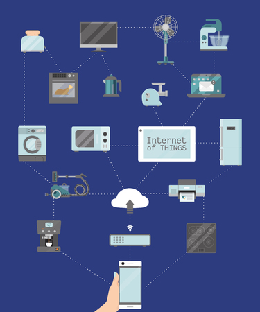 Home appliances remote control concept flat illustration vector. Modern technology house machine equipment. Domestic appliance automation device. Creative apartment household internet things.