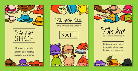 Hats shop market store sale cards vector illustration. Different clothing sale style cap cloth accessories poster. Seasonal headdress protection handmade advertisemen. Modern head wear accessory.