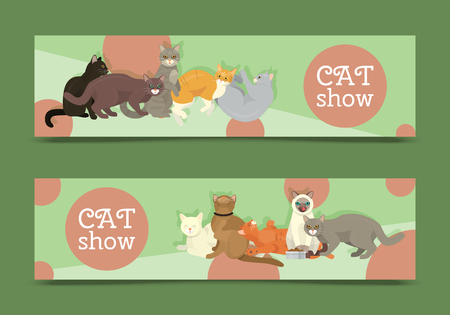 Cats show banner grooming or veterinary feline flyer vector illustration. Cute kitten pet poster. Funny animal studio. Lovely friendship advertisement pussy cat champion character.