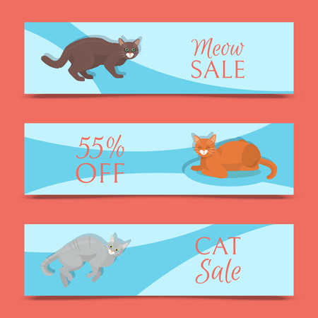Cats show sale banner grooming or veterinary feline flyer vector illustration. Cute kitten pet poster. Funny animal studio. Lovely friendship advertisement pussy cat champion character. Illustration