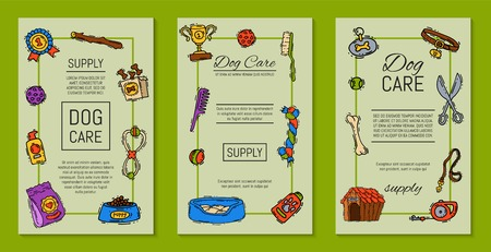 Pet care supply funny colorful cards petsshop advertising bookmark with dog kennel vector illustration. Animal accessory clinic canine carrier poster. Puppy protection love tools.