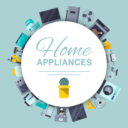 Home appliances poster flat illustration vector. Modern technology house machine equipment. Domestic appliance automation device. Creative apartment household elements banner, printed materials.