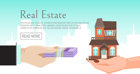 House rent banner, home selection, building buying in hands, real estate concept vector illustration. Housing purchase realty choose commercial investment apartment. Property cottage buy flyer. Illustration