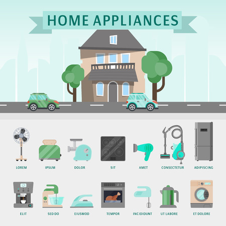 Home appliances flat illustration vector concept. Modern technology house with electric equipment. Domestic appliance automation device. Creative apartment household elements poster.