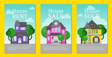 House rent cards, home selection, building project, real estate concept, flat poster vector illustration. Housing purchase realty choose commercial investment apartment. Property cottage buy flyer. Çizim