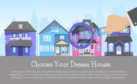 House rent banner, home selection, building project, real estate concept choose dream homevector illustration. Housing purchase realty choose apartment. Property cottage buy with magnifier flyer. Stock Vector - 119703425