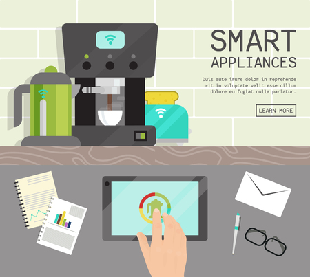 Home smart appliances remote control concept flat illustration vector. Modern technology house machine equipment. Domestic appliance automation device.