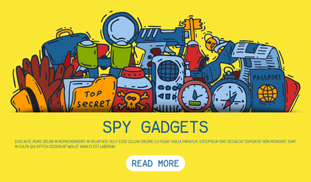 Private detective spy work gadgets magnifier forensic evidence secret documents banner vector illustration. Spying privacy information detective equipment. Professional surveillance work.