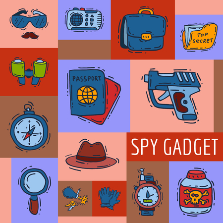 Private detective spy work gadgets magnifier forensic evidence secret documents poster vector illustration. Spying privacy information detective equipment. Professional surveillance work.