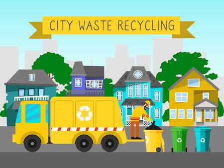 Riciclare i rifiuti urbani camion della spazzatura banner bin cestino illustrazione vettoriale. contenitore della spazzatura rifiuti elettronici domestici può riciclaggio. Strumento di fabbrica di pattumiera di metallo sporco della scatola di conservazione.