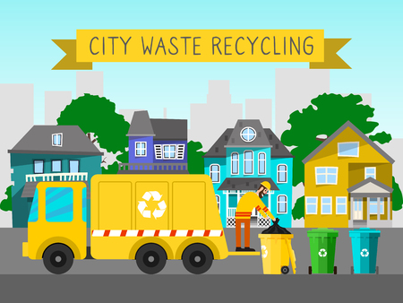 Recycle city waste garbage truck banner bin trash vector illustration. rubbish container electronic household ewaste can recycling. Conservation box dirty metal dustbin factory tool. Illustration