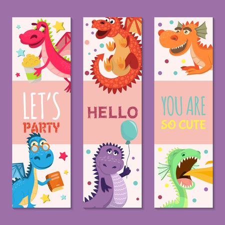 Baby dragons set of birthday or invitation banners vector illustration. Cartoon funny little sitting dragons with wings. Fairy dinosaurs with cake, baloon, flower. Make a wish, hooray. Çizim