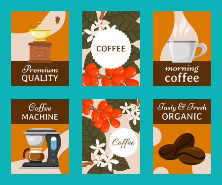 Coffee beans and equipment set of cards vector illustration. Morning coffee. Organic coffee. Always fresh and natural. Barista equipment such as espresso beans pot. Machine.