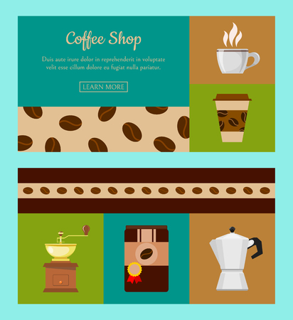 Coffee shop set of banners vector illustration. Morning coffee. Organic coffee. Always fresh and natural. Barista equipment such as espresso beans pot. Cup with hot drink. Take away. Illustration