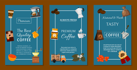 Coffee beans and equipment set of banners vector illustration. It s coffee time. Organic coffee. Always fresh and natural. Barista equipment such as espresso,coffee beans coffee pot. Illustration