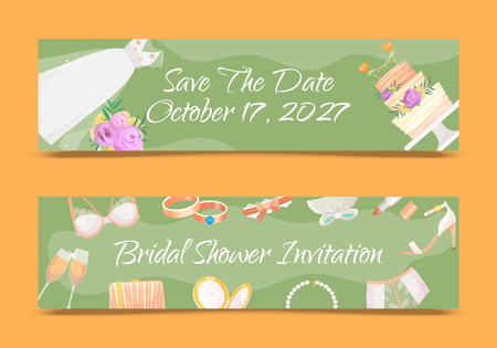 Bridal shower invitations set of banners vector illustration. Save the date. Wedding accessories such as flower bouquet, dress, glasses with champagne, cake, underwear, shoes, garters, lipstick. Vectores