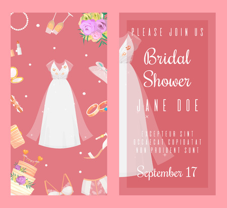 Bridal shower invitations set of banners vector illustration. Wedding accessories such as flower bouquet, dress, glasses with champagne, cake, underwear, shoes, engagement rings, lingerie.
