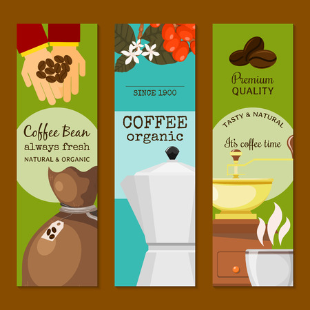 Coffee beans and equipment banner vector illustration. It s coffee time. Organic coffee. Always fresh and natural. Premium quality. Barista equipment such as espresso beans pot. Ilustrace