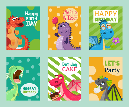 Baby dragons set of birthday or invitation cards or banners vector illustration. Cartoon funny little sitting dragons with wings. Fairy dinosaurs with cake, baloon, flower. Make wish, let s party.