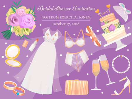 Bridal shower invitation banner vector illustration. Wedding accessories such as flower bouquet, dress, glasses with champagne, cake, underwear, shoes, engagement rings, lipstick. Standard-Bild - 120373671