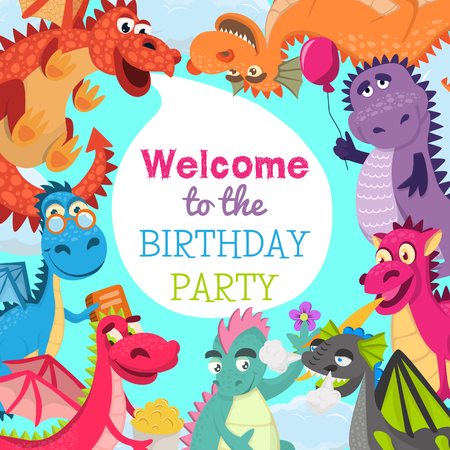 Baby dragons pattern vector illustration for invitation cards. Cartoon funny dragons with wings. Fairy dinosaurs with pop corn, baloon, flower, book. Welcome to the birthday party. Çizim