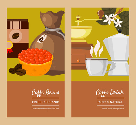 Coffee beans and equipment banner vector illustration. It s coffee time. Organic coffee. Always fresh and natural. Premium quality. Barista equipment such as espresso beans pot. Illustration