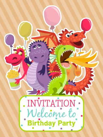 Cartel de dragones bebé, Ilustración de vector de tarjeta de invitación. Dragones divertidos dibujos animados con alas. Dinosaurios de hadas con palomitas de maíz y globos. Bienvenidos a la fiesta de cumpleaños. Dragón respirando fuego. Celebracion. Ilustración de vector