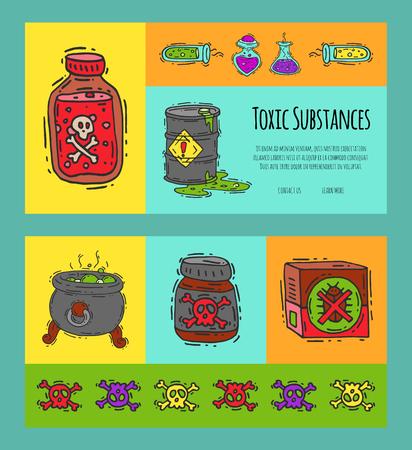 Banners de concepto de industria tóxica ilustración vectorial. Diferentes barriles para líquidos aceite, biocombustible, sustancias y líquidos explosivos, químicos, radiactivos, inflamables y venenosos.