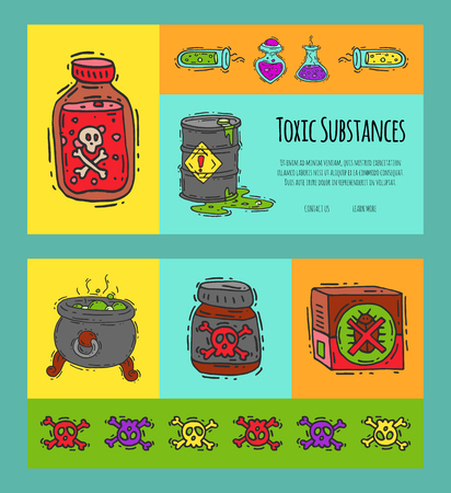 Toxic industry concept banners vector illustration. Different barrel for liquids oil, biofuel, explosive, chemical, radioactive,flammable and poisonous substances and liquids. Illustration