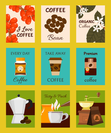 Coffee shop cards, banners vector illustration. Paper cup for take away drink. Premium coffee beans. Every day organic coffee. Tasty and fresh. Barista equipment such as cezve, coffee pot, grinder.