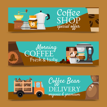 Coffee shop banners vector illustration. Morning coffee fresh and tasty. Special offer. Coffee bean delivery organic and premium. Barista equipment such as espresso machine, pot. Illustration