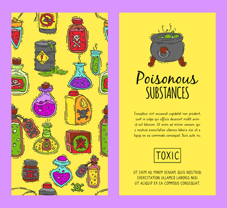 Poisonous chemicals and substances seamless pattern vector illustration. Different containers for liquids oil, biofuel, explosive, chemical, radioactive, flammable and poisonous liquids.