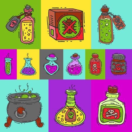 Toxic substances round pattern vector illustration. Different containers for liquids and poisonous chemicals oil, fuel, radioactive, flammable and poisonous liquids. Glass beaker with poison.