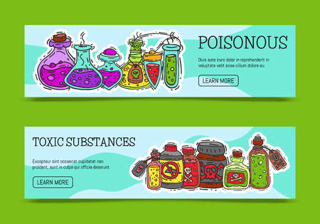 Poisonous chemicals and toxic substances banners vector illustration. Different containers for liquids oil, biofuel, explosive, chemical, radioactive, flammable and poisonous liquids. Ilustração