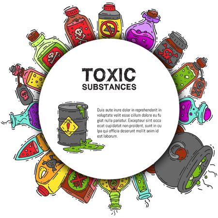 Ilustración de vector de patrón redondo de sustancias tóxicas. Diferentes contenedores para líquidos y productos químicos venenosos aceite, biocombustible, líquidos explosivos, radiactivos, inflamables y venenosos.