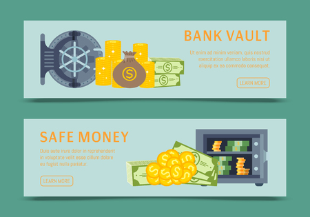 Bank safe and vault banners vector illustration, metallic iron safe door. Gold, cash, currency for financial concept, business template. Storage gate with electronical lock. Illustration