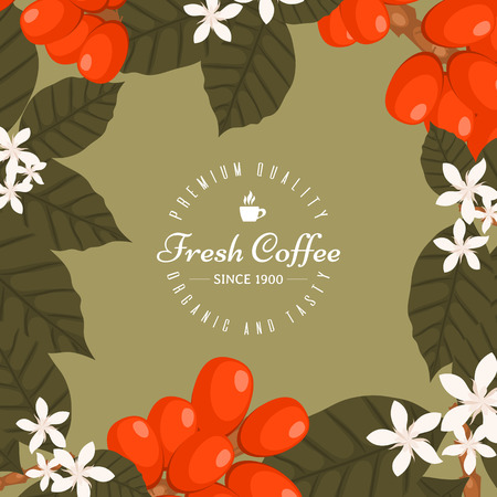 Coffee shop poster, banner vector illustration. Morning coffee fresh and tasty. Organic and premium quality coffee beans. Icon of cup with hot coffee drink. Coffee plants.