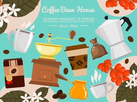 Coffee bean house vector illustration. Morning coffee. Organic coffee. Always fresh and natural. Barista equipment such as espresso machine beans pot. Cup with hot drink.