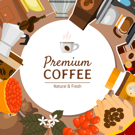Coffee shop round pattern vector illustration. Morning coffee fresh and tasty. Organic, premium coffee beans. Barista equipment such as espresso machine, pot, grinder, paper cup, mug with hot drink. Illustration